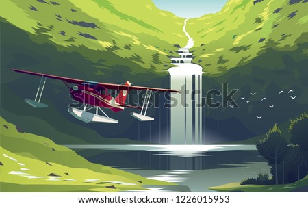 beautiful waterfall at the lake