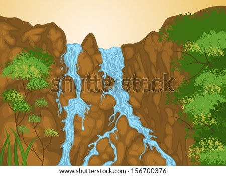 Beautiful waterfall in nature landscape background