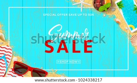 Beautiful web banner for summer sale. Top view on red sun glasses, seashells, cocktail, smartphone, flip flops and sea sand on wooden texture. Vector illustration with special discount offer.