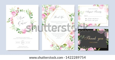 beautiful wedding and invitation card with floral and leaves frame #1422289754