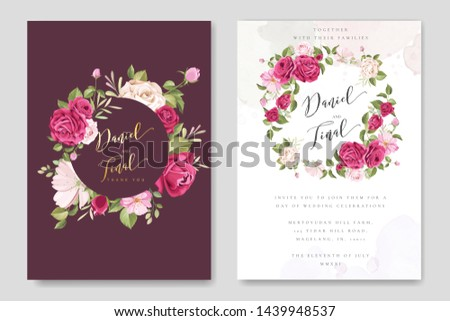 beautiful wedding and invitation card with floral and leaves frame #1439948537