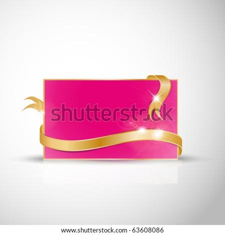 stock vector Beautiful wedding card Golden ribbon around blank pink