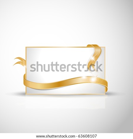 stock vector Beautiful wedding card Golden ribbon around blank white