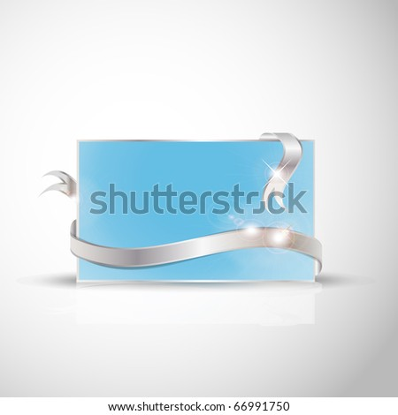 stock vector Beautiful wedding card Silver ribbon around blank blue