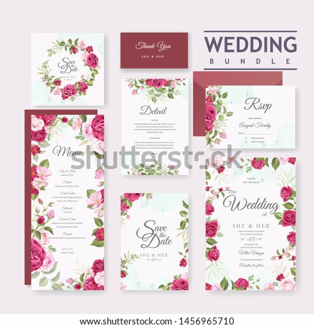 beautiful wedding invitation card set with elegant roses background