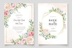 beautiful wedding invitation card with floral wreath