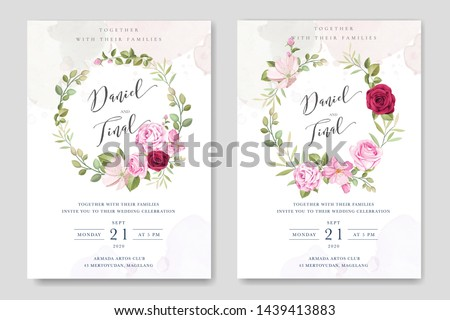 beautiful wedding invitation template with roses in colourful maroon background #1439413883