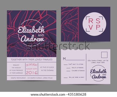 Beautiful wedding set, decorated with abstract mountains. Geometric invitation template