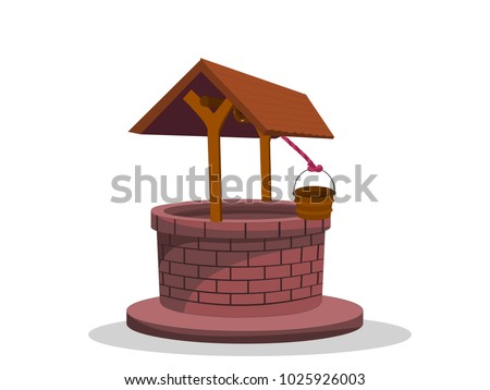 Beautiful Well With Shade Vector