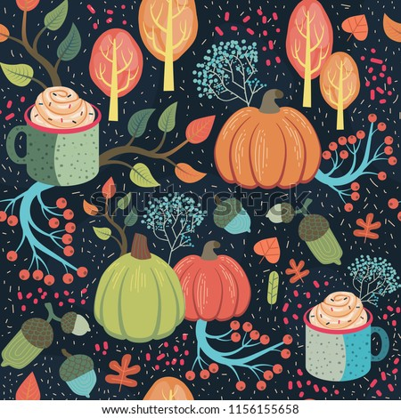 Beautiful whimsical autumn seamless pattern. Vector illustration.