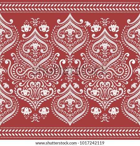 Beautiful white and red floral seamless pattern. Vintage. Traditional, Ethnic, Turkish, Indian motifs. Great for fabric and textile, wallpaper, packaging or any desired idea.