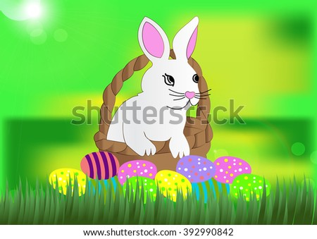 beautiful white easter bunny in