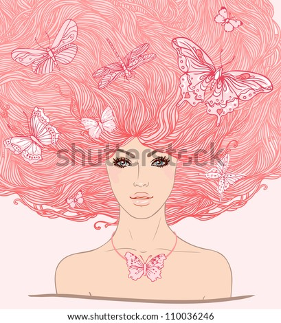 Beautiful white girl with butterflies in her long pink hair. Vector illustration.