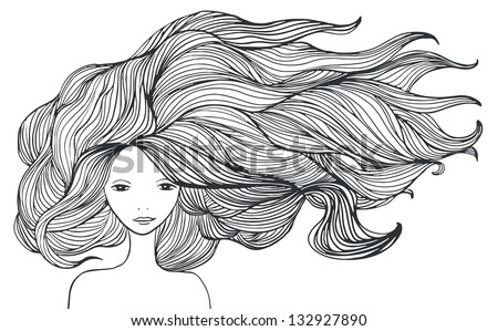 Beautiful White Girl With Long Hair. Illustration ...