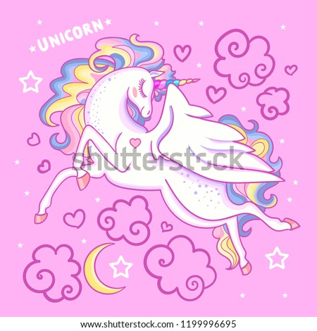 beautiful white unicorn on a