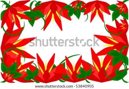 stock vector Beautiful wild hibiscus flower border