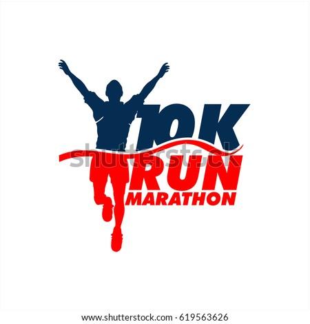 Beautiful Winner Marathon 10K Run Vector Silhouette Logo Stock