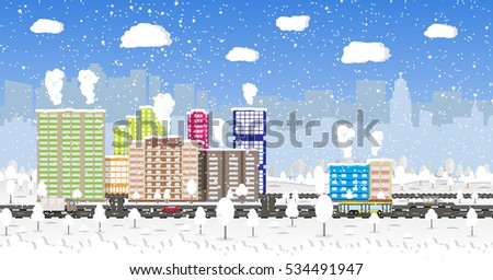 beautiful winter city with park
