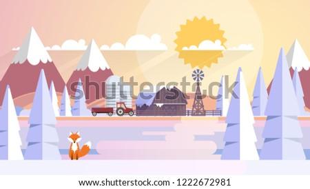 beautiful winter farmland