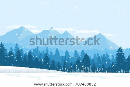 Beautiful winter flat landscape background. Winter landscape with mountains and snowfall. Flat design. Vector
