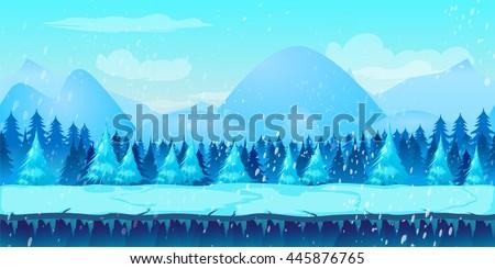 beautiful winter landscape 2d