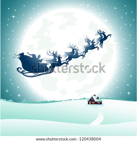 Beautiful winter landscape with background of night sky with a bright moon and the silhouette of Santa Claus flying on a sleigh pulled by reindeer. AI EPS 10. - stock vector