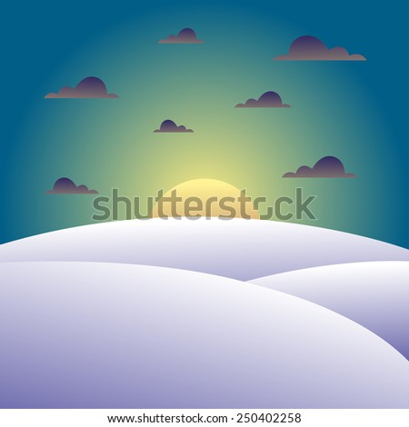 Beautiful winter landscape with snowy hills. Cold evening with clouds. Vector illustration.