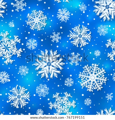 Beautiful winter seamless pattern, background with 3D paper cut out  snowflakes. Vector illustration