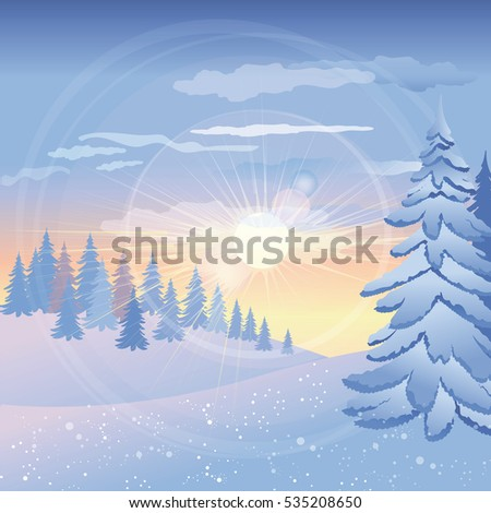 beautiful winter sunset in