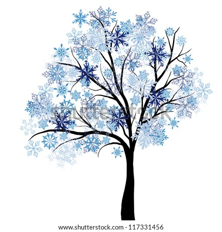 Beautiful winter tree with snowflakes leaves vector illustration
