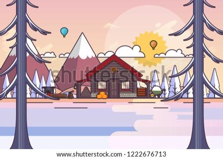beautiful winter  wood house