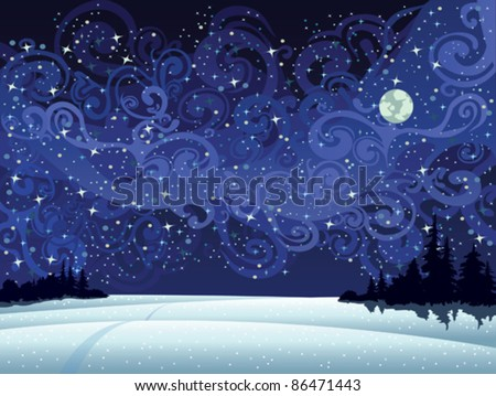 beautiful wintry landscape with