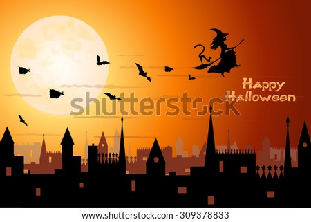 beautiful witch and bats flying