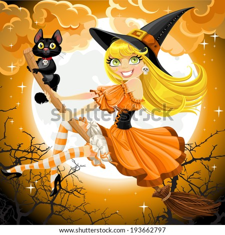 beautiful witch and her black