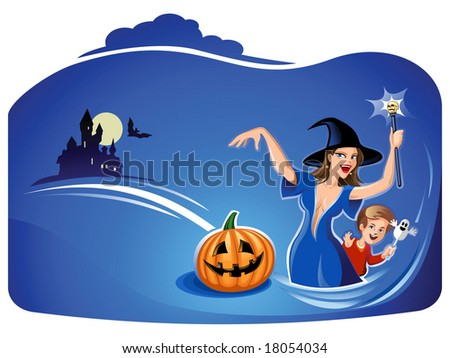 Beautiful Witch Casting Spell