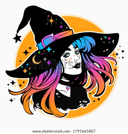 beautiful witch in a classic hat and coloured hair Сток-фото ©