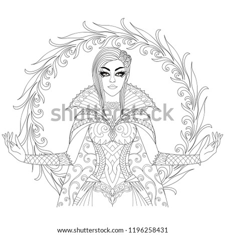 Beautiful witch showing her super power, Halloween costume theme for design element and adult coloring book page. Vector illustration
