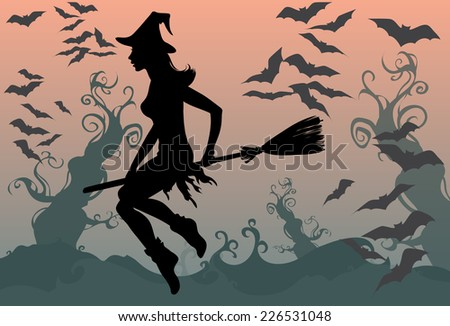 Beautiful witch silhouette and her bats flying on a broomstick isolated.