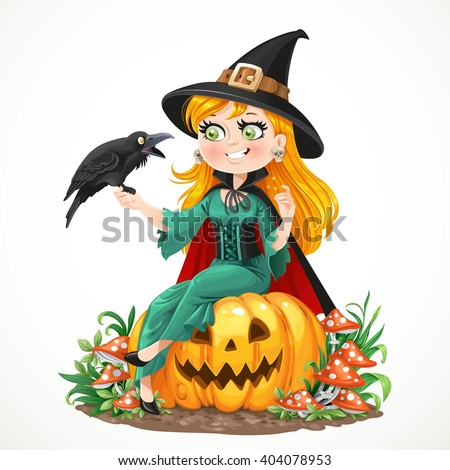 Beautiful Witch Sitting On A Pumpkin And Talks To The Black Raven Isolated White Background