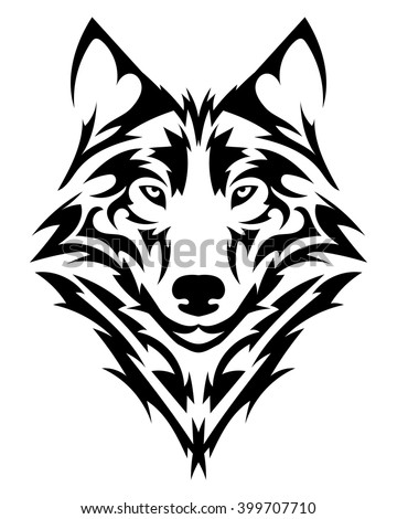 beautiful wolf tattoovector