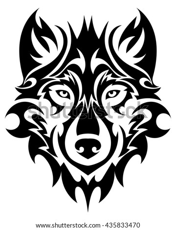 beautiful wolf tattoo vector