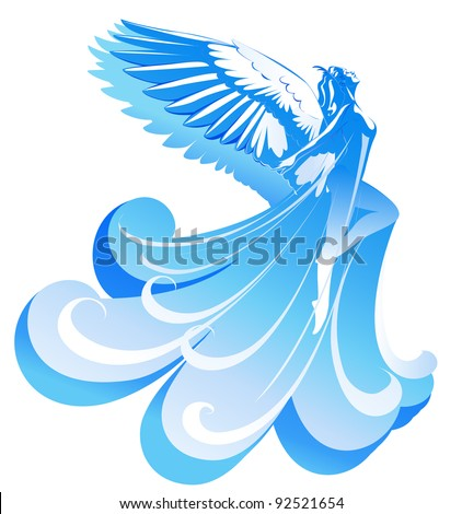 beautiful woman angel flying to