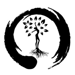 beautiful woman become tree inside zen symbol, personal grow,  healing, connection with earth, logo icon