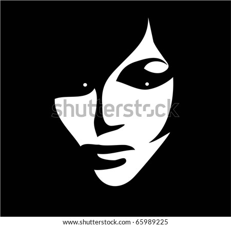 beautiful woman black white vector
