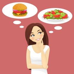 Beautiful woman choosing between salad and hamburger, healthy and junk food.