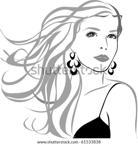 Beautiful woman close-up. Vector silhouette.