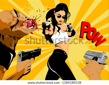 beautiful woman defends herself against two criminals who have attacked her