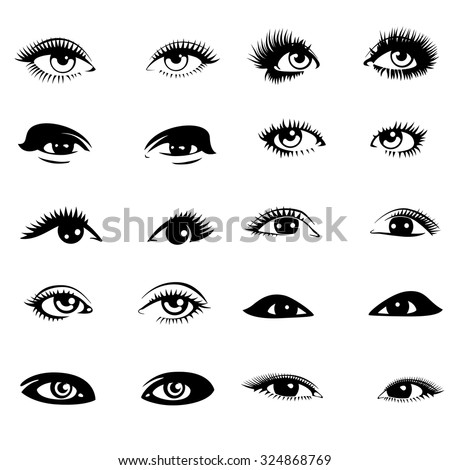 Beautiful Open Blue Eyes With Long Black Lashes The Distinctive Feminine  Look Stock Vector - Illustration of elements, black: 78193631