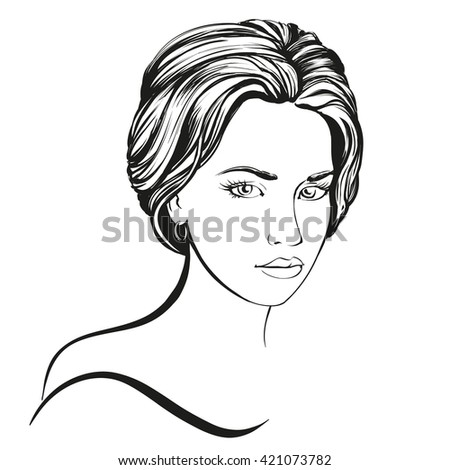 beautiful woman face hand drawn