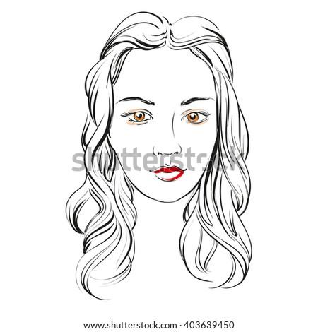 beautiful woman face vector illustration sketch